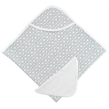 Kushies Hooded Towel and Wash Cloth in Grey Octagon