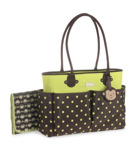 carter 39 s tote diaper bag in monkey brown and green diaper bags canada. Black Bedroom Furniture Sets. Home Design Ideas