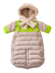 7AM Enfant Doudoune 100 Small (0-3m) in Beige and Neon Lime